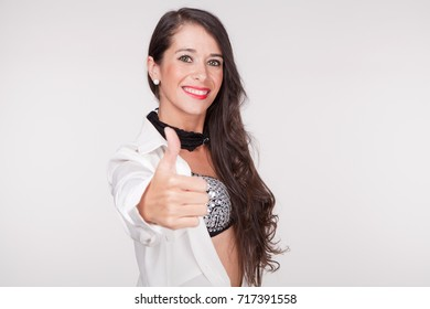 young woman with smile Ok