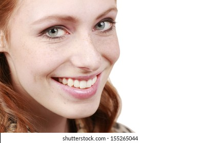 Young woman smiling close up