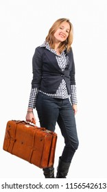 Young woman smiling and holding small leather suitcase