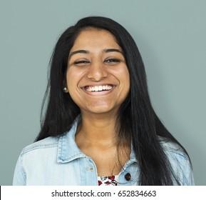 Young woman smiling studio photo