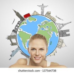 young woman smiling, traveling concept