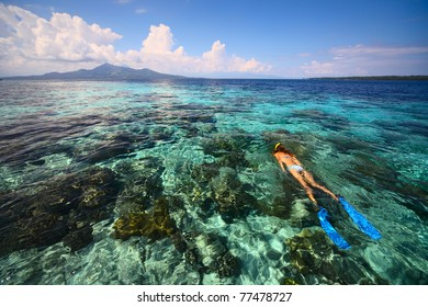 Young woman snorkeling in coral reef in tropical sea. Bunaken island. Indonesia