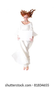 young woman in snowy wedding dress show blank frame, isolated on white