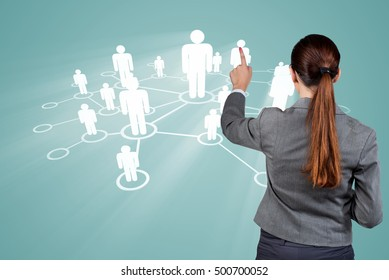 Young woman in social networks concepts