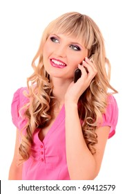 Young woman speaking with phone and smile isolated on white