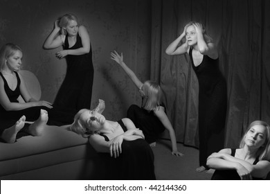 Young woman with split personality. Personal Bipolar disorder. A lot of girls in the same room. Woman goes crazy