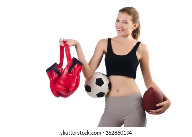 Young woman in sports concept isolated on white