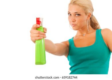 Young Woman With Spray Bottle