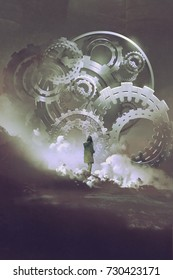 young woman standing in front of big gears and cogs, digital art style, illustration painting