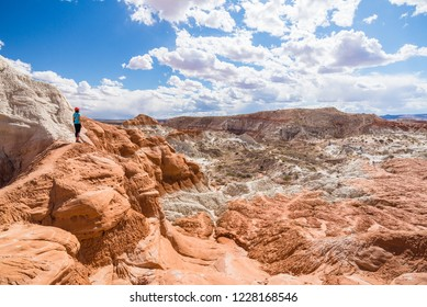 Young woman standing on the cliff admiring the view of Toadstool Hoodoos in Utah, USA. Woman standing on the cliff enjoying amazing view of sandstone formations. Travel and adventure concept.