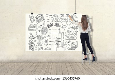 Young woman standing on a ladder and drawing a business plan sketch on a white banner. 3d render elements in collage
