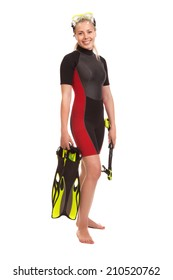 A young woman  standing in wetsuit  wearing,  holding snorkel and snorkeling fins  isolated on white in full body