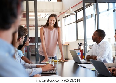 Young woman stands addressing colleagues at business meeting