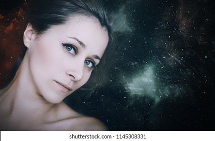 Young woman with stars in her hairs.