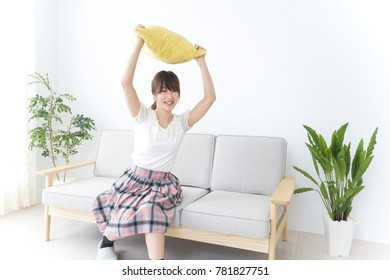 Young woman staying in room