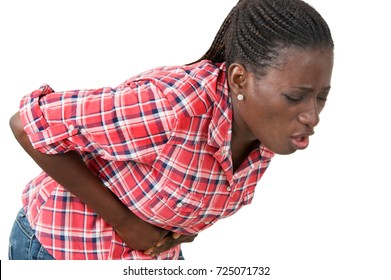 young woman with stomach pain and nausea