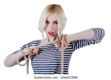 Young woman in a striped singlet with a twine in her hands