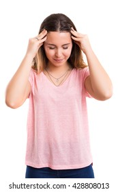 Young woman with a strong headache, isolated over white background