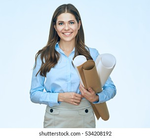 Young Woman Student architect holding blueprints. Smiling girl isolated portrait.