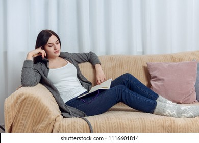 Young Woman Student Feel Bored While Trying to Studying Entry Exams to University or College