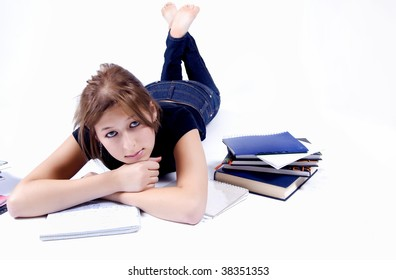 Young woman studies isolated on white background