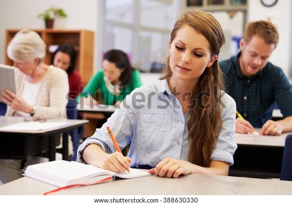 Young woman studying at an adult education class