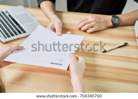 Young Woman Submit Resume Employer Review Stock Photo Edit