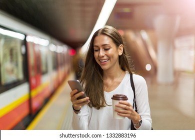 Young woman at subway station