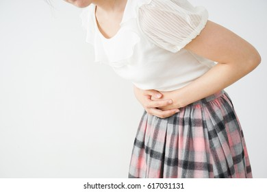 Young Woman suffer from stomachache