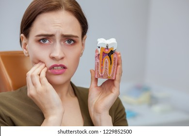Young woman suffering from toothache, looking to the camera in despair, holding tooth mold showing cavity. Close up of a female patient with aching teeth visiting dental clinic. Dentistry, oral care