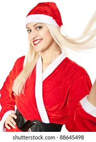 young woman in a suit of Santy