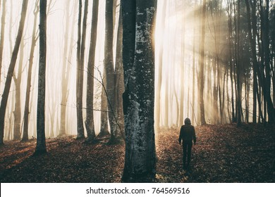 Young woman in sun rays coming through the trees in forest