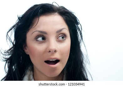 Young woman is surprised