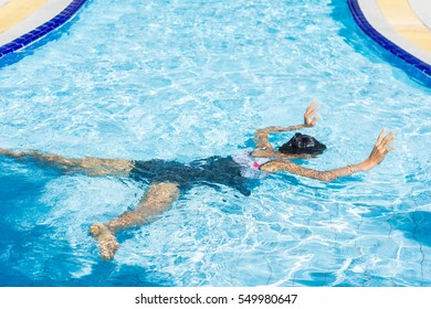 Young woman in the swimming pool, Cramp at swimming pool and Were drowned.