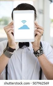 Young woman with tablet and clouds concept