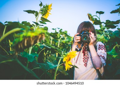 Young woman take photo in the sunflower field