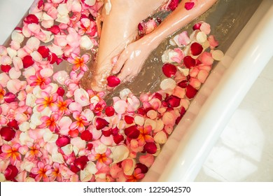 Young woman takes a bath in the tub full of petals, legs close up, spa weekend, wellbeing, body care and beauty concept