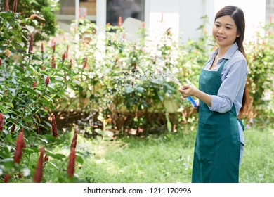 Young woman taking care about her plants, she watering it with hosepipe in the garden outdoors