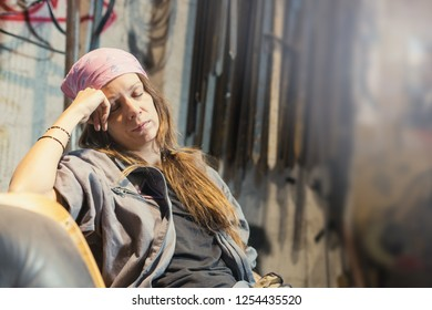 young woman taking a rest after hard work