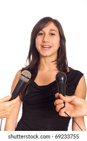 Young Woman Talking on the Microphone during Interview