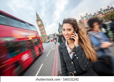 Young Woman Talking on Mobile in London