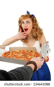 Young woman with tasty pizza in delivery paper