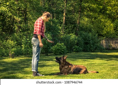 Young woman tell dog to lay down on grass,obedience training.