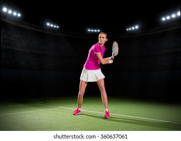 Young woman tennis player at stadium