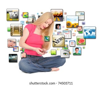 A young woman is texting on a phone with different photos coming out on a white background.