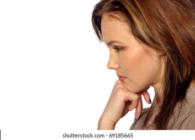 young woman thinking deeply