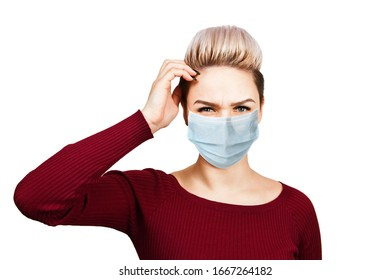 young woman thinking wearing protective face mask prevent virus infection, pollution, white isolated background.