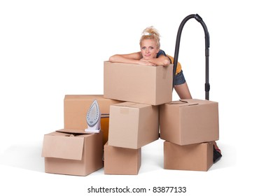 young woman tired after moving in new house