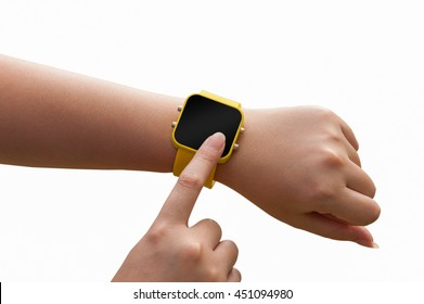 Young woman touching on yellow smartwatch isolated n white background