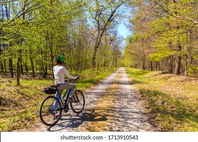 Junge Touristenfahrerin auf der Straße im Wald am sonnigen Frühlingstag in Puszcza Niepolomicka bei Krakau, Polen